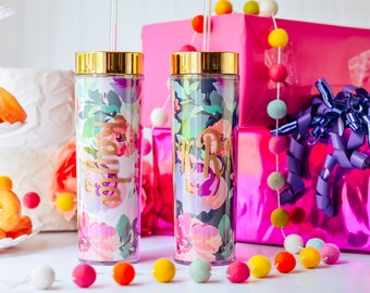 Personalized Floral Tumbler, Graduation Gift for Friend, College Graduation Gift for Her, High School Graduation Gift for Daughter