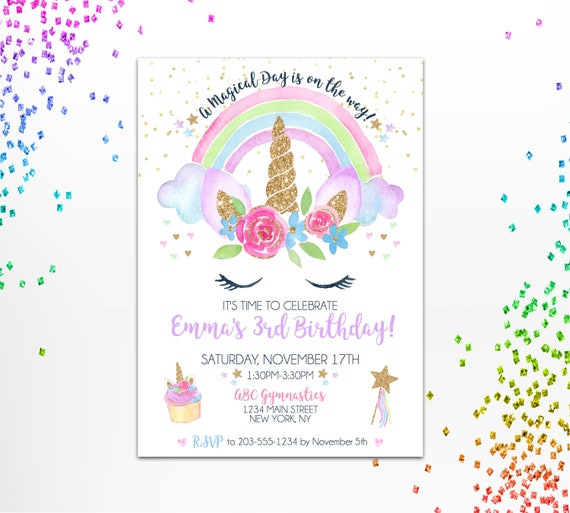 Unicorn Birthday Invitation Unicorn Rainbow Invite Girl Etsy