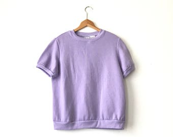 SHORT SLEEVE SWEATSHIRT // Small // 90s // Lavender // Purple Sweatshirt // Short Sleeve Sweatshirt // 90s Sweatshirt // Minimal Shirt