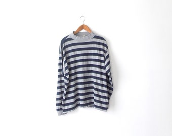 90s Striped Mock Turtleneck Shirt - XL