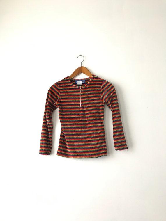 Tiny 90s Rainbow Velour Shirt - XXS-XSmall / Velo… - image 2