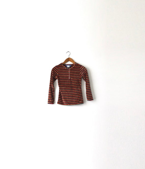 Tiny 90s Rainbow Velour Shirt - XXS-XSmall / Velo… - image 1