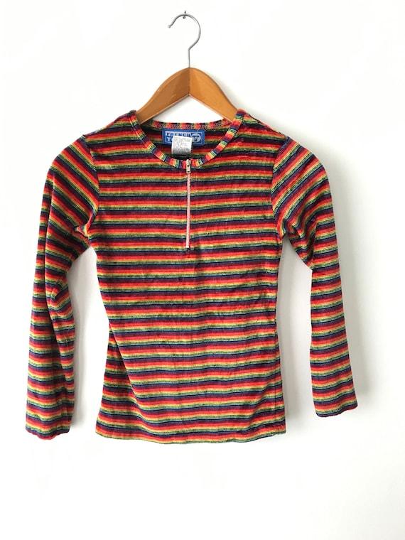 Tiny 90s Rainbow Velour Shirt - XXS-XSmall / Velo… - image 3