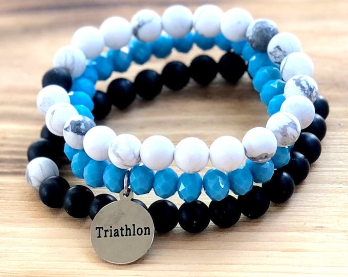 Intent Bracelet- Custom Word Bracelet- Stacking Bracelets- Set of 3 -Custom Charm Bracelet- Personlized Jewelry -Triathalon- Word Jewelry