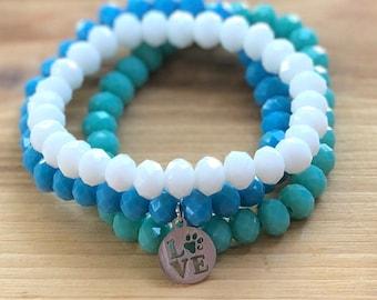 Love Dogpaw Charm Bracelet- Stacking Bracelets- Set of 3 -Personlized Jewelry - Word Jewelry- dog jewelry for people- Pawprint Charm