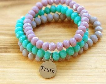 Intent Bracelet- Custom Word Bracelet- Stacking Bracelets- Set of 3 -Custom Charm Bracelet- Personlized Jewelry - Word Jewelry- Inspiration