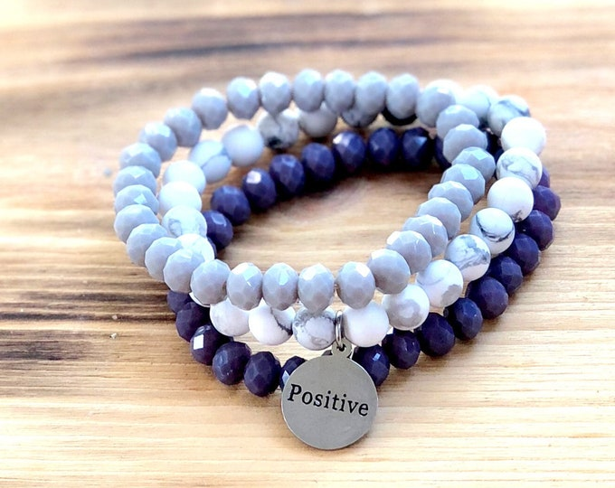 Intent Bracelet- Custom Word Bracelet- Stacking Bracelets- Set of 3 -Custom Charm Bracelet- Personlized Jewelry - Word Jewelry- Positive