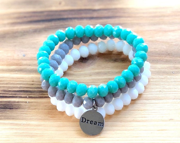 Dream Intent Bracelet- Custom Word Bracelet- Stacking Bracelets- Set of 3 -Custom Charm Bracelet- Personlized Jewelry - Word Jewelry