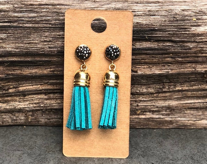 Gold Tassel Earrings, Turquoise suede tassel, rhinestone tassel Statement Earrings, Floral Earrings, Boho Earrings, Gold earrings Bridesmaid