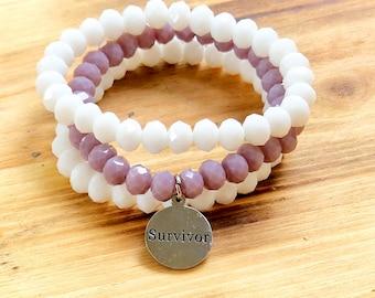Intent Bracelet- Custom Word Bracelet- Stacking Bracelets- Set of 3 -Custom Charm Bracelet- Personlized Jewelry - Word Jewelry- Survivor