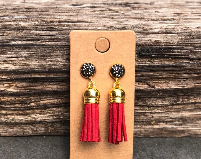 Red Gold Tassel Earrings, Turquoise suede tassel, rhinestone tassel Statement Earrings, Floral Earrings, Boho Earrings, Gold earrings