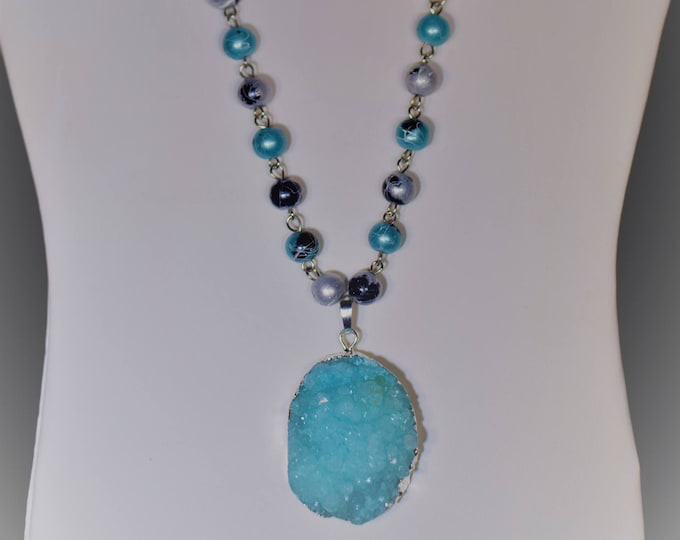 Turquoise multip color bead necklace with a turquoise druzy pendant