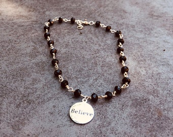 Custom Anklet - Intent Anklet- Custom Word Anklet -Custom Charm - Personlized Jewelry - Word Jewelry- Anklet- Choose Your Word and Color