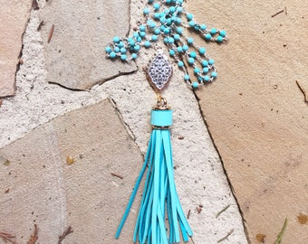Long Leather Turquoise Tassel Necklace with Silver and Gold Connector Pendant on a Turquoise Beaded Chain