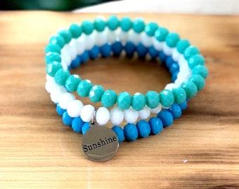 Intent Bracelet- Custom Word Bracelet- Stacking Bracelets- Set of 3 -Custom Charm Bracelet- Personlized Jewelry -Sunshine- Word Jewelry