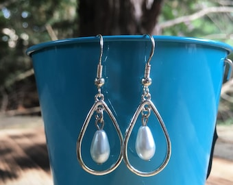 Silver and Pearl Earrings | Loop Earrings | Pearl Earrings | Light-weight Earrings | Sterling Silver Earring Hooks