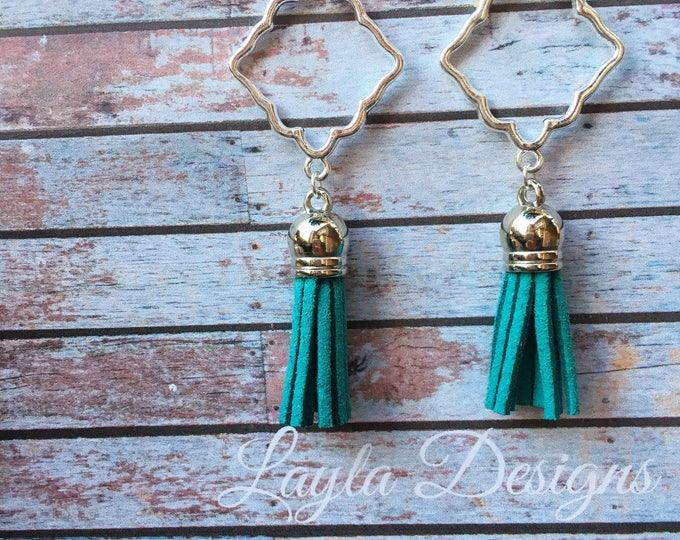 Turquoise Tassel Earrings, Tassel suede earrings, Tassel Drop Earrings, tassel earrings, drop silver earrings, Modern geometric earrings