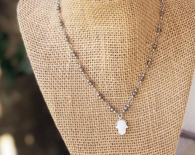 Hamsa Choker/ hamsa druzy necklace / hamsa choker / druzy hamsa charm / Hamsa necklace/ Silver Choker/ Bat Mitzvah Gift/ Teenage girl gift