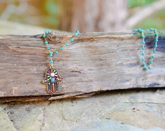 Long Statement Necklace | Turquoise Wire Wrapped Necklace | Hamsa Necklace  | Gold and Turquoise  | Lariat Necklace  | Modern Jewish Jewelry