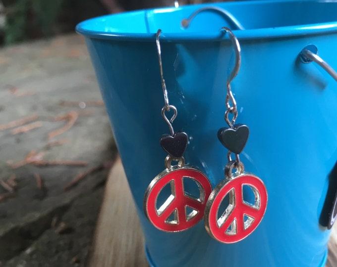 Peace Earrings with Hearts  | Peace Sign Earrings  | Tween Earrings | Bat Mitzvah Gift | Birthday Gift | Sterling Silver Earring Hooks