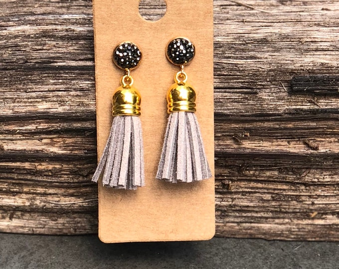 Gold Tassel Earrings, light grey suede tassel, rhinestone tassel Statement Earrings, Floral Earrings, Boho Earrings, Gold earrings