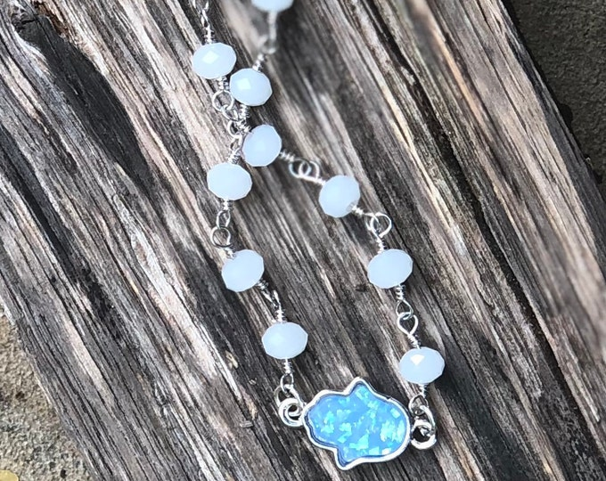 Hamsa Turquoise Opal Bracelet  / opal hamsa / hamsa braclet / opal hamsa charm / Hamsa Jewelry / Yoga Jewelry / Customized jewelry