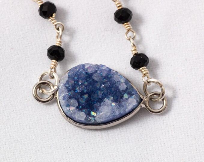 Druzy Bracelet / Silver Druzy Bracelet / Purple Druzy Beaded Bracelet / Trendy Druzy Bracelet / Druzy Jewelery