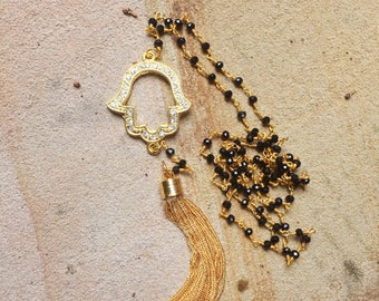Hamsa Necklace / Long Gold Tassel on a Beaded Black Necklace / Tassel Necklace with Gold Hamsa Connector Pendant