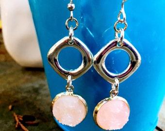 Druzy Earrings   Pink and Silver Earrings    Geometric Earrings   Lightweight Dangle Earrings