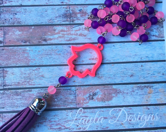 Pink and Purple Hamsa Necklace | Kids Jewelry |  Hamsa Necklace | Bat Mitzvah Gift | Modern Jewish Jewelry | Purple suede tassel