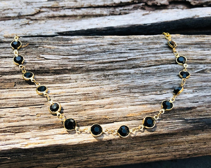 Black Choker / Black Beaded Choker Necklace / Black Layering Necklace Choker/ Beaded Choker/ Boho Choker/ Dainty Choker/ Delicate Necklace