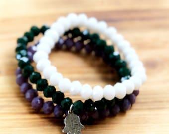 Hamsa Charm Bracelet- Stacking Bracelets- Set of 3 -Personlized Jewelry - Yoga Jewerly- Hamsa Bracelet- Yoga Bracelet