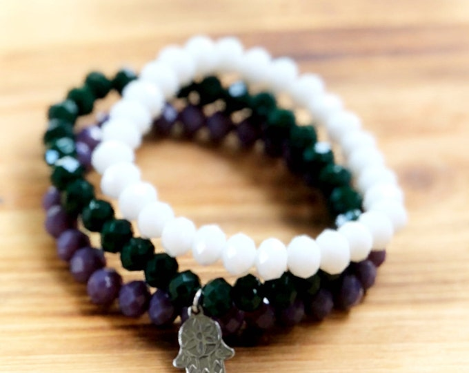 Hamsa Charm Bracelet- Stacking Bracelets- Set of 3 -Personlized Jewelry - Yoga Jewerly- Hamsa Bracelet- Yoga Bracelet