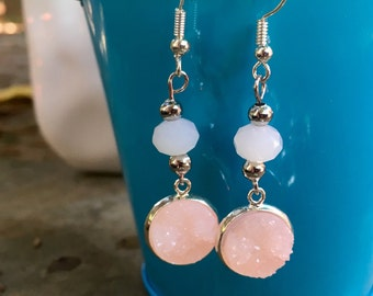 Druzy Earrings | Pink and White Earrings  | Geometric Earrings | Lightweight Dangle Earrings