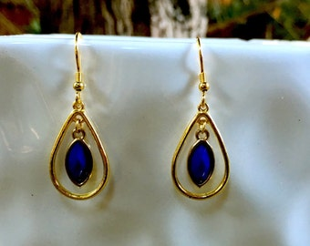 Gold and Midnight blue Earrings | Loop Earrings | Trendy and Fun Earrings | Light Weight Dangle Earrings
