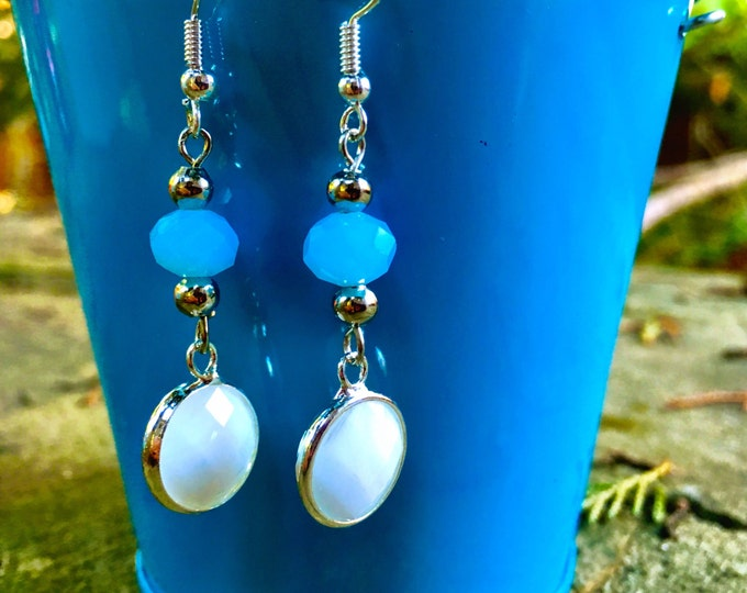 Turquoise and White Earrings | Turquoise and Silver Earrings  | TrendyTrendy and Fun Earrings | Light weight Dangle Earrings