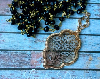 Long Pendant Necklace, Long Necklace, Pendant Necklace, Boho Necklace, filigree Necklace, gold and black beaded necklace
