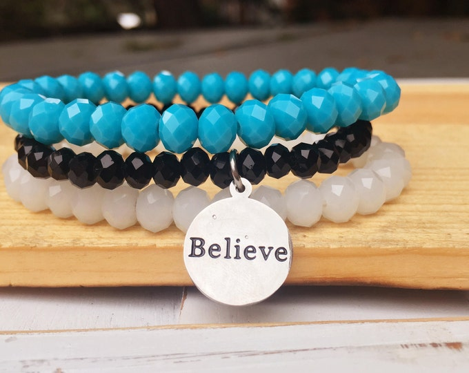 Custom Word Bracelet- Intent Bracelet- Stacking Bracelets- Set of 3 -Custom Charm Bracelet- Personlized Jewelry -Believe- Word Jewelry