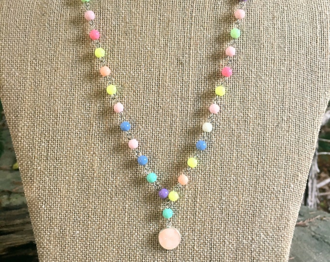 Druzy Necklace on colorful Wire Wrapped Chain / Pink Druzy Necklace / Fun Bat Mitzvah Necklace