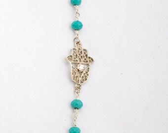 Silver Hamsa Bracelet / Rhinestone Hamsa Bracelet/  Blingy Fun Hamsa Bracelet / Great Bat Mitzvah Gift / Customize Your Color Chain