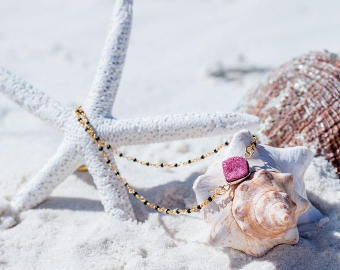 Druzy Choker / Gold Druzy Choker / Pink Druzy Beaded Choker / Trendy Druzy Choker / Druzy Jewelry
