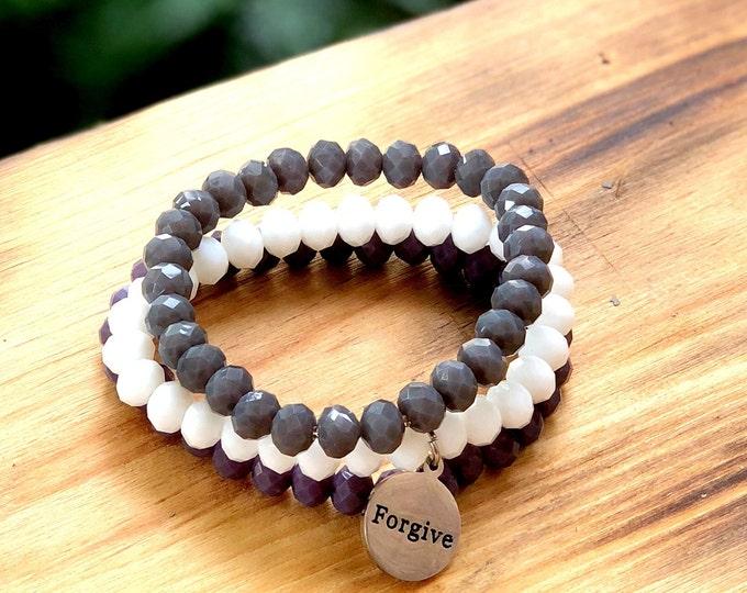 Intent Bracelet- Custom Word Bracelet- Stacking Bracelets- Set of 3 -Custom Charm Bracelet- Personlized Jewelry - Word Jewelry- Forgive