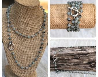 Convertible Necklace long beaded necklace boho bead layered necklace Long Layering Necklace wrap bracelet bobo beaded wrap bracelet