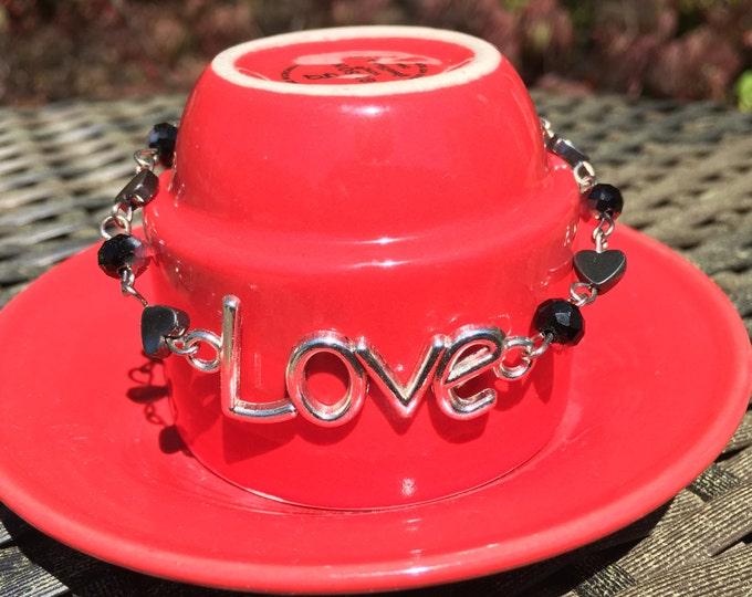 Rhinestone Love Bracelet on Heart Chain | Fun Bracelet | Fun Birthday Gift | Black and Silver Wire Wrapped Heart Chain