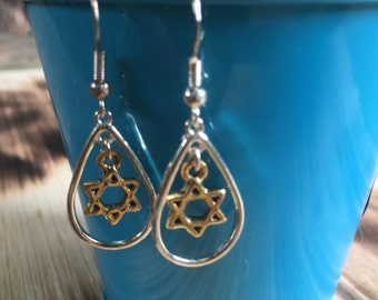 Silver and Gold Star of David Earrings | Loop Earrings | Bat Mitzvah Gift | Light-weight Earrings | Sterling Silver Earring Hooks