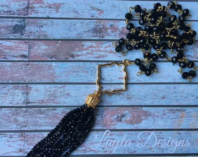Beaded black tassel on a black beaded necklace / Long Gold Tassel Necklace with Gold Connector Pendant/ Long beaded tassel necklace
