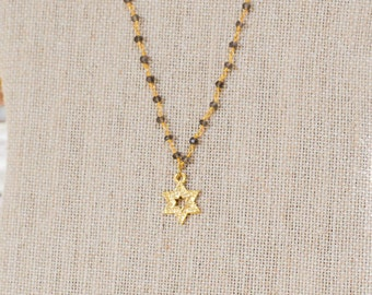 Western Wall Gold Star of David Necklace | Wire Wrapped Star of David Necklace | Kotel Star of David Necklace | Modern Jewish Jewelry