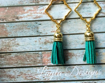 Turquoise Tassel Earrings, Tassel suede earrings, Tassel Drop Earrings, tassel earrings, drop gold earrings, Modern geometric earrings