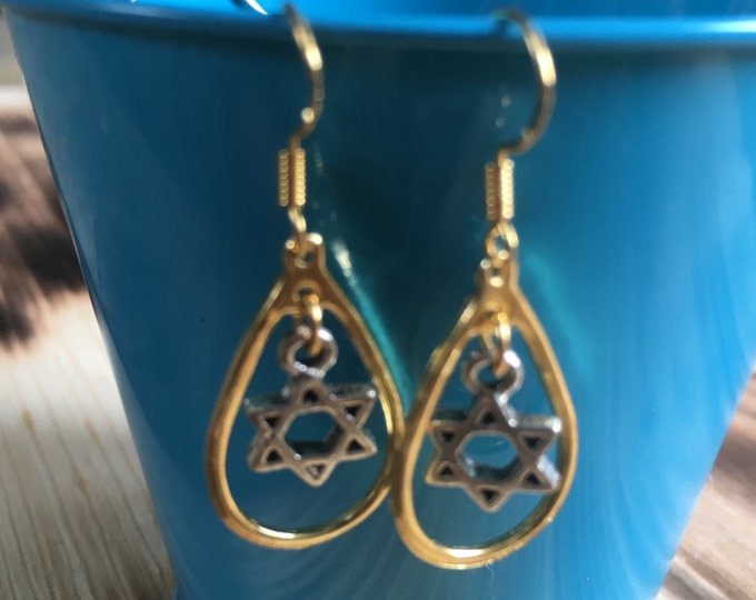 Gold and Silver Star of David Earrings | Loop Earrings | Bat Mitzvah Gift | Light-weight Earrings | Sterling Silver Earring Hooks