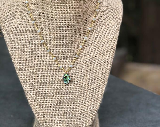 Opal Green Blue Opal Choker /  Green Blue opal Choker / opal hamsa Choker / hamsa necklace / opal hamsa charm / Hamsa Choker